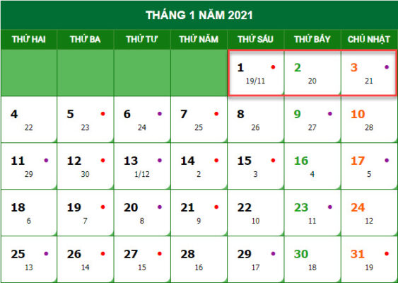 Lịch nghỉ tết dương lịch năm 2021