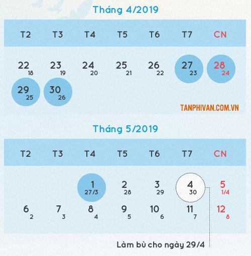 lich nghi 30 thang 4 va ngay 1 thang nam nam 2019