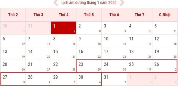 lich nghi tet duong lich 2020