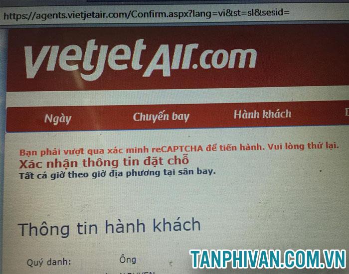 lỗi đặt chổ trên trang Vietjet